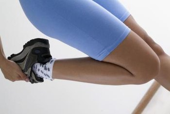 Quad stretches can help loosen up tight thighs.