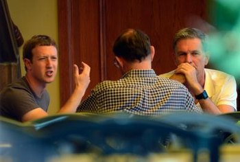Facebook founder Mark Zuckerberg at work.