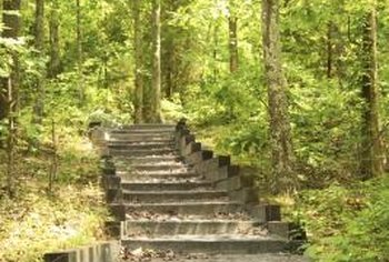 Use landscape timbers to build sturdy steps with a natural look.