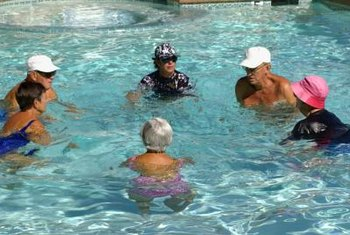 Exercise and socialize with water aerobics.