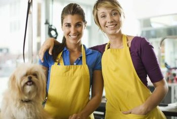 Groomers maintain the appearance of pets, such as dogs.