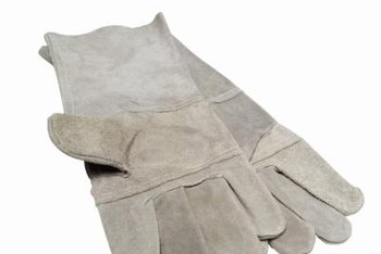 Use a thick pair of gardening gloves to protect your hands when transplanting barberry bushes.