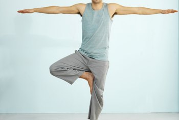 Light, breathable clothing can keep men comfortable while practicing yoga.