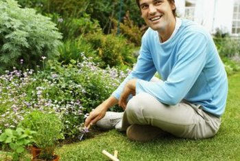 Apply lawn products on a calm day to avoid flower bed damage.