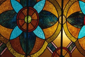 Stained glass is commonly used in Mission-style decorating.