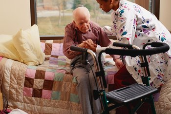 Nursing assistants help patients with daily living tasks.