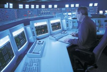 Nuclear engineers monitor control panels at many nuclear power plants.