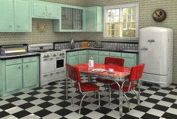 A bright red Formica tabletop highlights this 1950s-style kitchen.