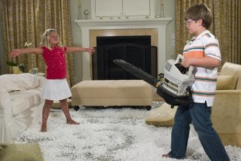 Though intended for use outdoors, leaf blowers help with many messes.