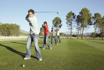 Head to the driving range to improve your golf swing.