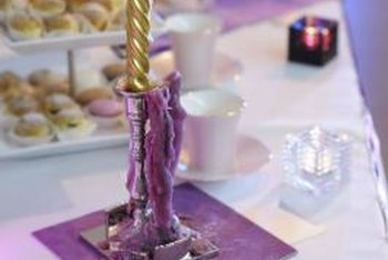 Break out the antique silver candlesticks on a lilac tablecloth.