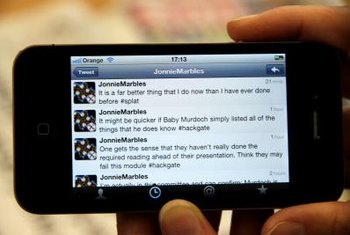 Many mobile devices, including the iPhone, have Twitter applications.