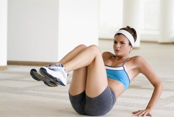 Strength-training exercises help reduce the appearance of sagging belly skin.