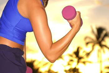 Dumbbells are a good tool to use for building muscles in your arms.