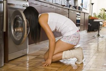 Apartments sometimes have washer and dryers installed in kitchen areas.