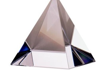 A crystal pyramid waits for a 3D image to be etched inside.
