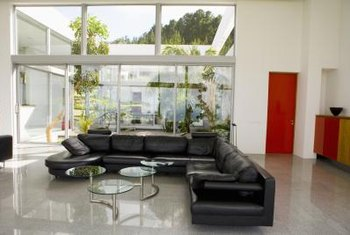 Sectional sofas provide comfortable seating.