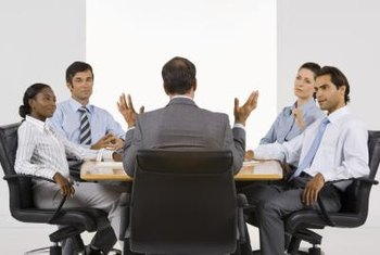 Speak up in a meeting to express your ideas.
