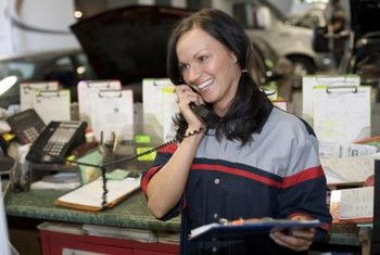 Auto service technicians often confer with customers by phone.