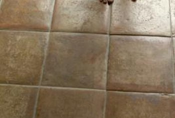 Create the look of tile with scored concrete.