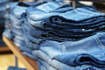 Many retailers use nested and tiered tables to display jeans.