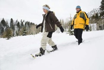 Snowshoeing burns calories at a rapid rate.