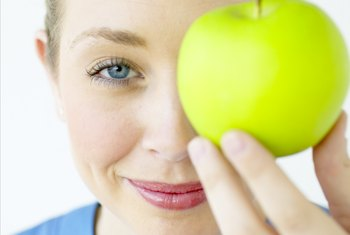 An apple's skin contains most of its fiber.