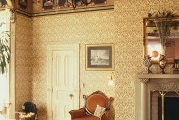 Victorian wallpaper gives a room a colorful and stately appeance.
