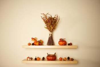 Simple rows of shelves are an easy way to fill an empty wall.