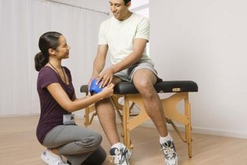 Assistants help prepare patients for physical therapy.