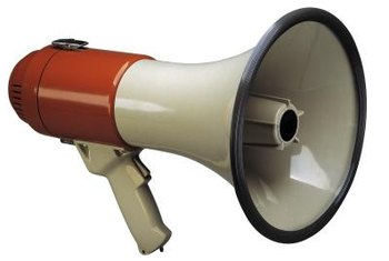 The megaphone effect is popular in radio and TV ads.