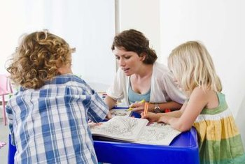 Many kindergarten teachers work with small groups of students.