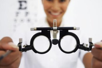 Optometric technicians perform optical pretests and take measurements.