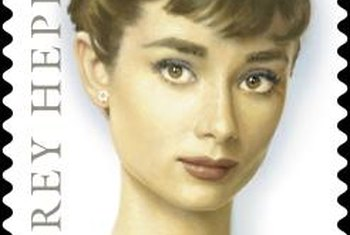 Roses and stamps honor movie star, Audrey Hepburn.