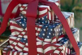 Americana wrapping paper expresses patriotism at Christmas.
