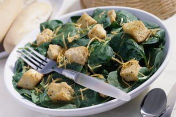 Homegrown spinach makes a quick and nutritious salad.