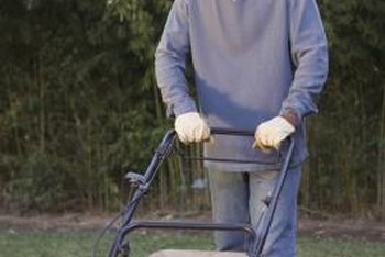 An attached bag catches lawn clippings.