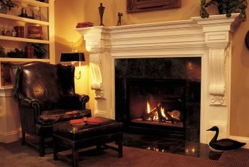 A durable semi-gloss paint job spruces up a fireplace.