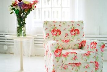 Floral fabrics complement a shabby chic or cottage-style living room.