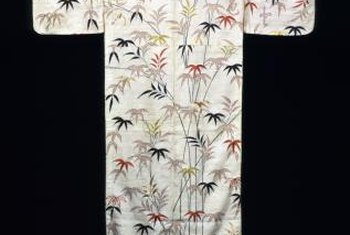 Kimonos may be displayed on a simple rod hung on the wall.