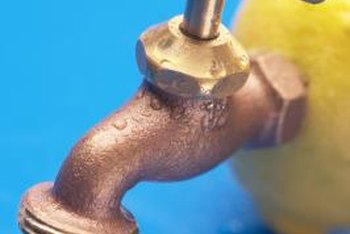 Use adapters to attach a copper faucet to PVC pipes.