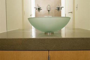 The majority of vessel sinks are surface mounted on the counter.