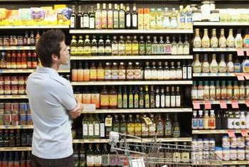 Customers often compare prices of different brands on retail shelves.