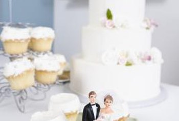 Decorated cupcakes are becoming popular at wedding receptions.