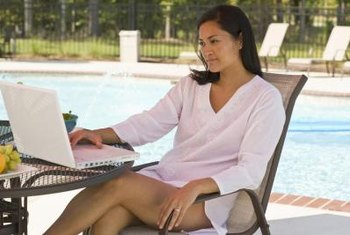 Do your work on a poolside table and chair set.