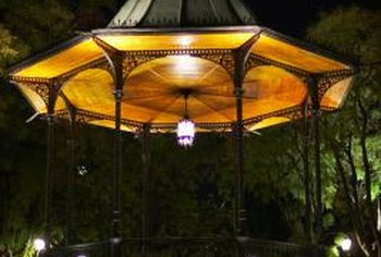 Chandeliers and perimeter lights are two of the many ways to light a gazebo.