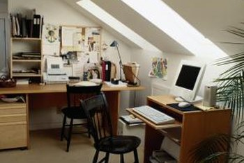 In a small home office, placing the desks on three of the room's walls is usually the best layout.