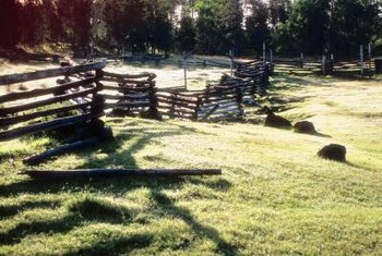 Colonial worm fences require more logs than post and rail fences, but require no special tools.