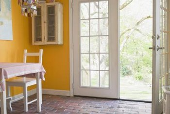 Hang curtain panels to add privacy to your French doors.