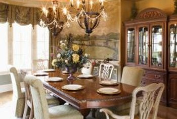 Chandeliers play a major role in the mood of a dining room.
